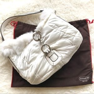 COACH Fur-Trimmed Quilted Satin Hobo Bag
